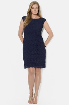 7774b66404fa2 Lauren Ralph Lauren Boatneck Lace Sheath Dress (Plus Size) available at   Nordstrom Suculentas