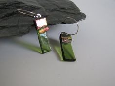 Olive green dichroic collage earrings by Iridescenceglass on Etsy
