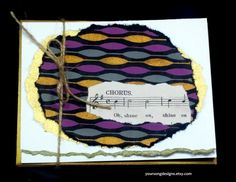Art Deco Gold and Purple Notecard Set (5) with Vintage Sheet Music by YourSongDesigns on Etsy