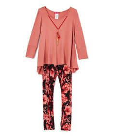 Dusty Rose Hi-Low Tunic Set - Toddler & Girls #zulily #zulilyfinds