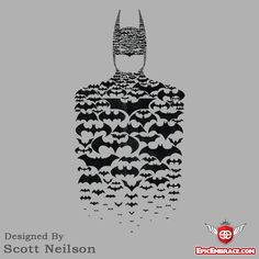 Batman Made Of Bat Symbols! $11 Tee Today Only. Lucian was just talking about this as a tattoo idea, but with the Keaton symbol in yellow in the middle.