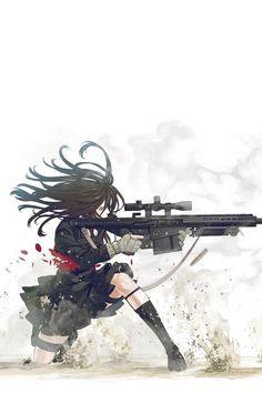 #girl #war #gun 巴雷特M82(英語:Barrett M82)是由美國巴雷特研發生產的重型SASR(Special Application Scoped Rifle — 特殊用途狙擊步槍)