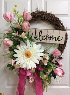 Spring Welcome wreath, Welcome wreath for door, Pink tulip wreath, Spring tulip wreath, Pink spring Spring Front Door Wreaths, Diy Spring Wreath, Diy Wreath, Spring Crafts, Wreath Ideas, Tulip Wreath, Floral Wreath, Flower Wreaths, Yarn Wreaths