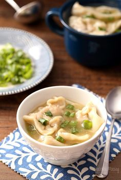 Wonton Soup stuffed with pork is a family favorite and will hopefully be yours too. Serve with egg rolls for Chinese food at home without ordering take out. Pork Recipes, Asian Recipes, Cooking Recipes, Chinese Recipes, Cookbook Recipes, Bowl Of Soup, Soup And Salad, Asian Soup, Good Healthy Recipes