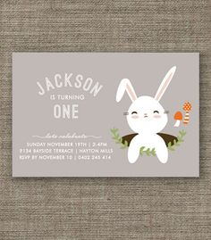Bunny Rabbit Woodland Party Invitation for kids party, 1st 2nd 3rd 4th 5th boys birthday or Easter - pdf printable - gray, blue or green. $16.00, via Etsy.