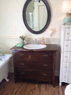 Had a bathroom sink put into an antique drawer !