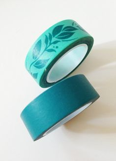 Teal washi tape or leaf washi tape - Perfect for card making, scrapbooking, paper crafting, gift wrapping, and packaging decoration. Embellish tags