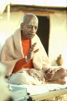 """A.C. Bhaktivedanta Swami Prabhupada.  Love the rasa-filled expression on his face.  """"The transcendental qualities are conducive to liberation, whereas the demonic qualities make for bondage.""""  (in Bhagavad-gita As It Is)"""