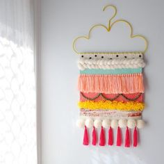 When you find out that one of your top two all time favourite nieces is getting a new bedroom, you pull out all the tricks. Pom poms,… of lovers Weaving Wall Hanging, Weaving Art, Tapestry Weaving, Loom Weaving, Wall Hangings, Weaving Projects, Craft Projects, Diy Hanger, Wall Hanger