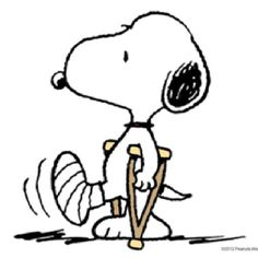 Snoopy sprained his ankle? F. How's he gonna run in his cute plaid shorts??