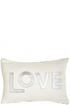 Metallic Leather Love Pillow Blanc