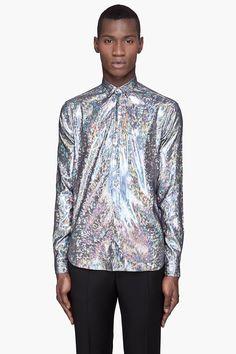 MUGLER // Silver Hologram Button-Front Shirt