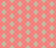 Ikat in Coral and Mint fabric by theartwerks on Spoonflower - custom fabric