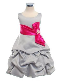 Silver Rich Satin Short Pick Up Girl Dress with Fuchsia Sash (Sizes Infants to 14)