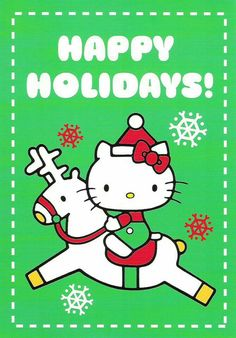Hello Kitty Happy Holidays Wishes, Holiday Wishes, Christmas Cartoons, Christmas Humor, Christmas Stuff, White Christmas, Hallo Kitty, Hello Kitty Christmas, Hello Kitty Pictures
