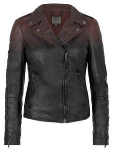https://www.cityblis.com/6209/item/14732  Salazar Leather Ombre Biker Jacket in Redwood - $715 by Muubaa  This signature Muubaa leather biker has been hand painted in a graduated, dip-dyed ombre effect. Featuring asymmetric zip fastening, poppers on collar and lapels, two zipped pockets and full length sleeves with elongated zipped cuffs. The jacket has been garment washed to bring out the texture and c...