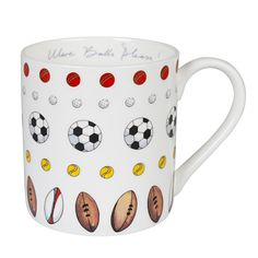 This fun mug features Sophie's illustrations of some rugby, football, cricket, tennis and golf balls. 'More Balls Please!' is written on the inside rim of the white fine bone china mug in Sophie's signature handwriting.