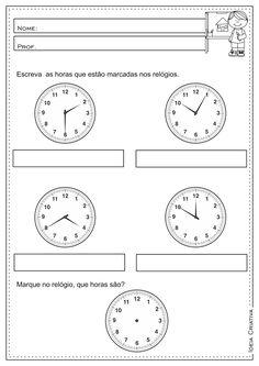 Atividade Educativa Medidas de Tempo Hora Minutos e Segundos 3° ano fundamental