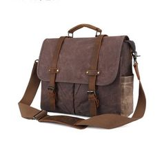 Waxed canvas messenger laptop bag with leather trims. Water-resistant and functional. Dimensions: x x Waxed Canvas, Canvas Leather, Cow Leather, Vintage Leather Messenger Bag, Leather Laptop Backpack, Canvas Laptop Bag, Canvas Backpack, Briefcase For Men, Leather Briefcase