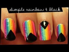 rainbow and black nail art tutorial