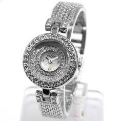 FW943B Round PNP Shiny Silver Watchcase White Dial Ladies Women Bracelet Watch