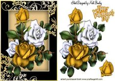 Pretty gold and white roses in ornate black gold frame on Craftsuprint - Add To Basket!