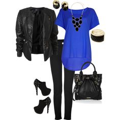 """black & blue"" by jgibbs0823 on Polyvore"