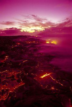 Pink Volcano Sunrise - Hawaii