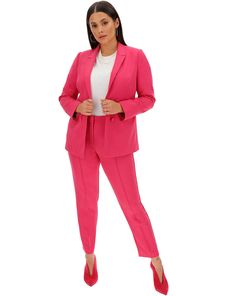 Create a statement with these pink tapered trousers. Add style and comfort with the stretch fabric. Featuring a pinstich detail down the seam these trousers are so on trend. Create the co-ord look by matching with the pink blazer Leopard Skirt Outfit, Skirt Outfits, Plus Size Blazer, Rainbow Fashion, Boyfriend Blazer, Tapered Trousers, Suits You, Stretch Fabric, Suit Jacket