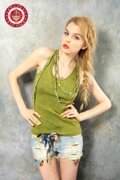 Women's Vintage Retro Tie-Dyed Washed Green Camisoles Vest (Wth necklace)