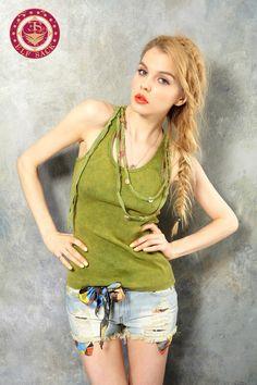 #Women's Vintage Retro Tie-Dyed Washed Green Camisoles Vest (Wth necklace)  Women's Vests #2dayslook #fashion #Vests www.2dayslook.com