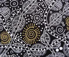 Australian Aboriginal Bush Tucker Black Yellow White Quilt Fabric | eBay