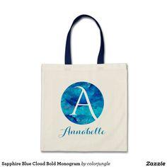 Sapphire Blue Cloud Bold Monogram Tote Bag