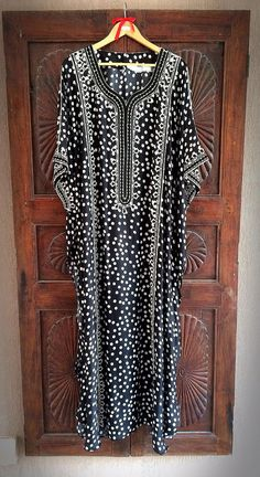 Silk polka dot caftan summer maxi dress
