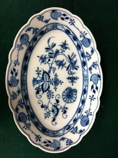 Beautiful Antique Flow Blue Meissen Blue Onion Oval by Chichesters, $119.50