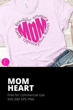 (1) Free Mom Heart SVG Cut Files - Kelly Lollar Designs Hand Lettering Quotes, Free Mom, Personalized Shirts, Kid Names, Svg Cuts, Planner Stickers, Cutting Files, Converse With Heart, Gifts For Mom