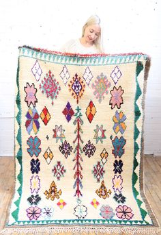 Such a beautiful pastel bouquet handmade rug, from Baba Souk