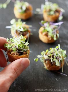 - Petites bouchées au canard confit I would classify these small duck confit and balsamic reduction bites in the Cherished-on-a-forgotten-to-prepare category. Fingerfood Recipes, Appetizer Recipes, Finger Food Appetizers, Appetizers For Party, No Salt Recipes, Cooking Recipes, Tapas, Fingers Food, Brunch