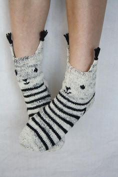 and foot care Knit wool socks Animal socks Grey wool socks Striped wool socks Wool winter socks Squirrel socks Lemur socks Wool Socks, Knitting Socks, Hand Knitting, Sock Animals, Clay Animals, Sock Monster, Softie Pattern, Winter Socks, Cute Socks