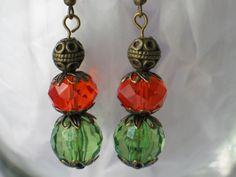 FAMU Earrings, FAMU Jewelry, Hurricanes Earrings, Orange Earrings, Rattlers or Miami Hurricanes Orange Green Handmade Earrings