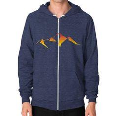 abstract mountain sunset logo Zip Hoodie (on man)