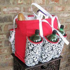 Handmade fabric / cloth market, craft, picnic, beach, grocery tote bag. Sturdy canvas,denim,pockets.. $44.99, via Etsy.