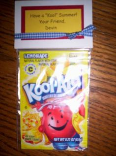Kool-Aid Pre School Treat Bag by - Cards and Paper Crafts at Splitcoaststampers End Of School Year, School Fun, Pre School, School Days, School Stuff, School's Out For Summer, Summer Kids, Preschool Graduation, Graduation Ideas