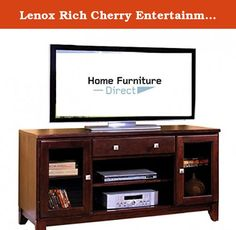 Lenox Rich Cherry Entertainment Console. The Lenox provides a classic design and maximum function thats striking in any room. The adjustable shelves and track run drawer provide a core with ample space for your components. The two stylish flanking storage compartments provide areas for DVDs, remote controls, books, and speakers.The Lenox is ideal for living rooms, bedrooms, and home theaters, and accommodates Plasma/LCD TVs up to 65 inches. You will not find a more striking and carefully...