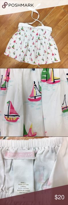 Janie and Jack Sailboat Top Sail Away Halter Girls Janie and Jack Sailboat Top Sail Away Halter Girls 8  Sweet sailboats. Allover sailboat print brings colorful style to our airy cotton poplin top, while pintucking, shirring, and tie back halter straps finish the silhouette. Full cotton batiste lining completes the summer fashion. Smocking in back assist with dressing. Details * 100% Cotton Poplin; 100% Cotton Batiste Lining * Machine Washable Very good used condition.  #sailaway #sailboat…