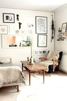 Sheepskin rug on chair, from My Scandinavian Home via Simply Grove Room Inspiration, Interior Inspiration, Design Inspiration, Home Living Room, Living Spaces, Home Interior, Interior Decorating, Decorating Ideas, Decor Ideas