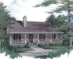 Starter Home With Two Covered Porches - 3435VL | Cottage, Country, Vacation, Narrow Lot, 1st Floor Master Suite, PDF, Split Bedrooms | Architectural Designs