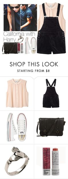 """""""California with Harry."""" by onedirection-outfits1d ❤ liked on Polyvore featuring Monki, Converse, Daines & Hathaway and Korres"""