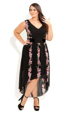 Plus Size Rose Pleat Dress - City Chic - City Chic