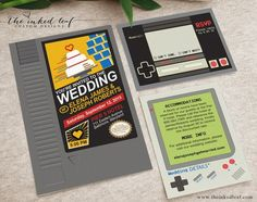 Nintendo NES Cartridge Mario - Inspired Nerdy or Geek Chic Wedding Invitation Suite with Game Boy Classic Info Card, and Controller RSVP Video Game Wedding, Wedding Games, Wedding Couples, Wedding Ideas, Wedding Planning, Budget Wedding, Event Planning, Wedding Stuff, Wedding Venues